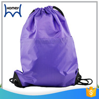 Wholesale promotional small drawstring bag with front zipper pocket