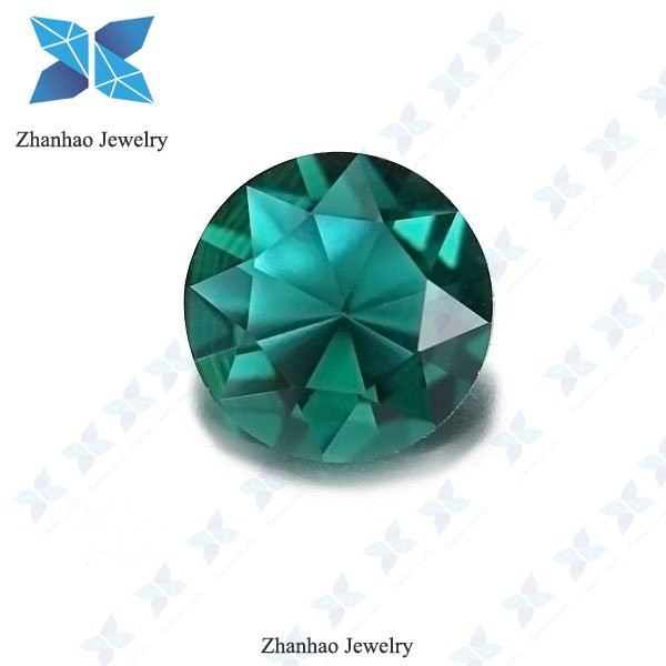 wholesale machine cut deep green glass imitation jewelry