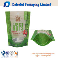 custom ziplock plastic food nuts packaging stand up heat sealed pouch