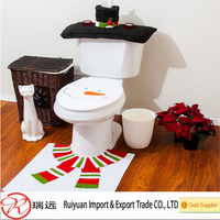 Cute Snowman Cloth Christmas Toilet Seat Cover and Rug Set