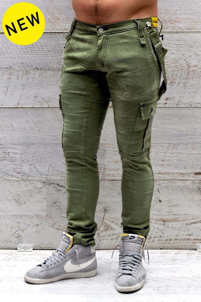 customized BENJI jean - army green denim trousers /camel/khaki