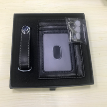 Real leather card holder <strong>wallet</strong> and keychain gift set men