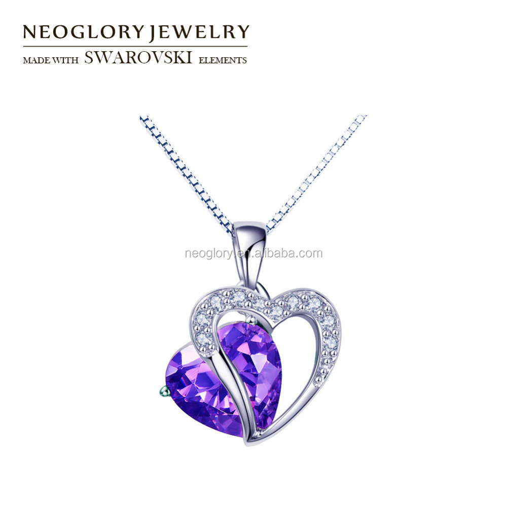 Anniversary Nobel Sterling Silver Chain Crystal Pendant With Rhinestones Made With Swarovski Elements