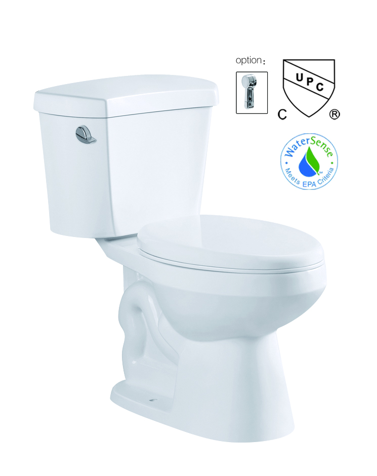 cUPC certification two-piece single flush toilet with softclose seat