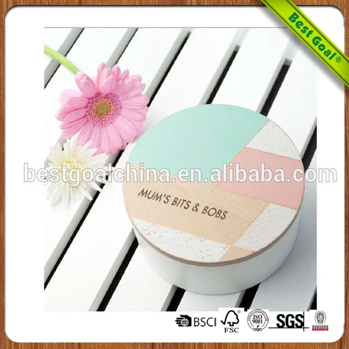 Mothers Day cheap gift round ring wooden jewelry box