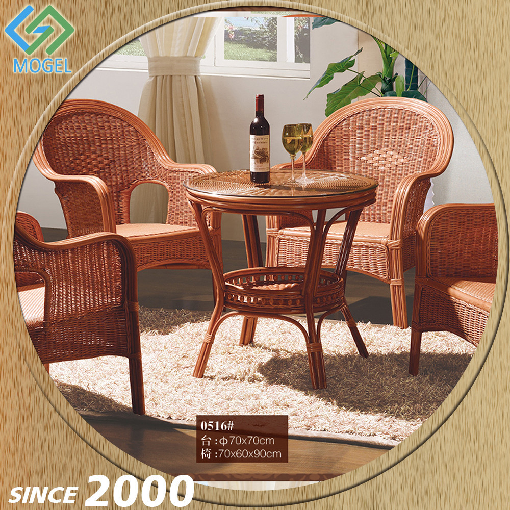 Foshan Factory Living Room Rattan Inlaid Coffee Table With Chair