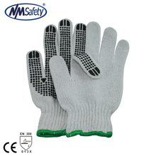 NMSAFETY 7 gauge bleach polycotton string knit pvc dotted cotton gloves