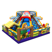 Monkey air arch jumping bounce castle inflatable climbing wall with inflatable water slides