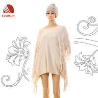 2014 Fashion Warm Knitted Acrylic Plain Shawl for Lady