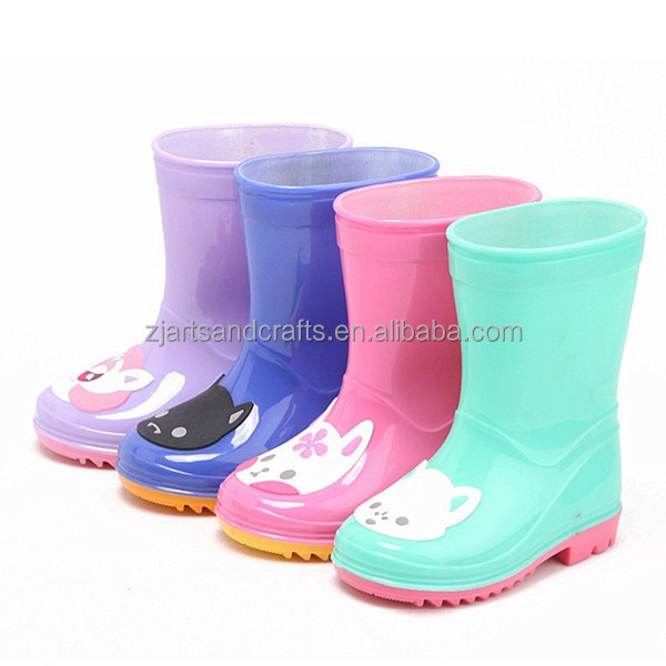 Waterproof PVC jelly child rain boot with cute cartoon duck cat design