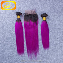 Fashionable Free Part straight Brazilian Virgin Hair Lace Closure,100% virgin hair bundles with lace closure 1b purple color