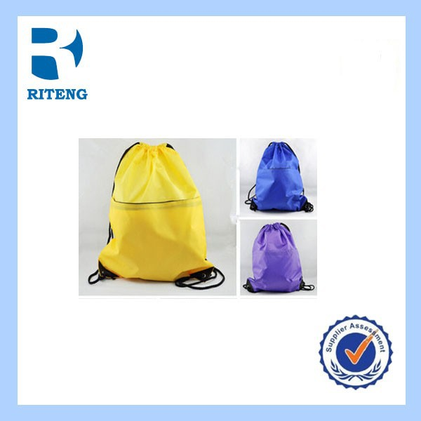 wholesale fashion promotional cheap organic cotton drawstring bag for kids backpack school bag