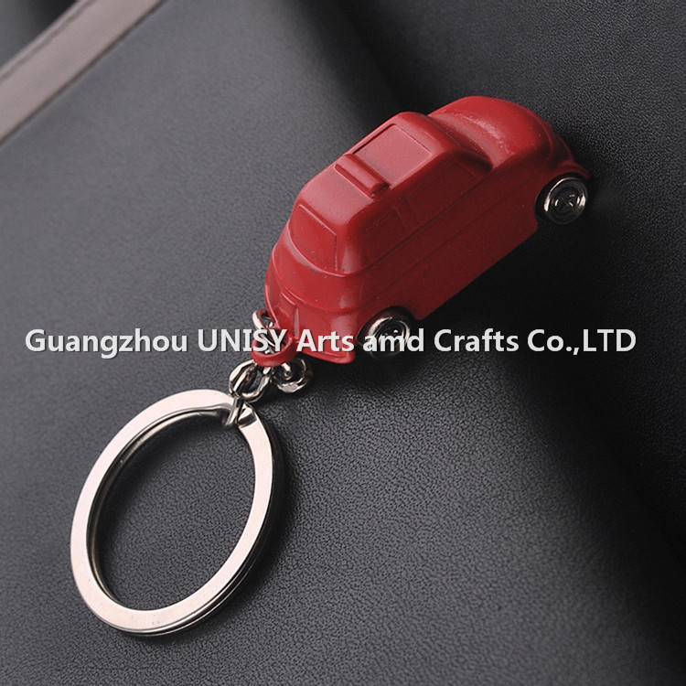 Fashion jewelry design red car shape metal Keychain key ring / Mini 3D custom metal car shape keyring key holder wholesale