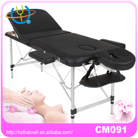 pure color sex massage table with carry case cream black color