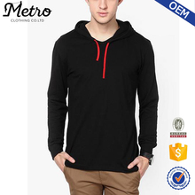 Wholesale Most Popular Mens Black Hooded T-Shirts Blank