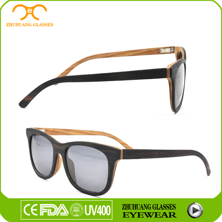 Polarized lens recycled Skateboard wooden sunglasses