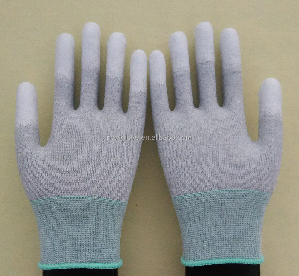 nylon pu fingers coated esd gloves top fit gloves anti-static gloves