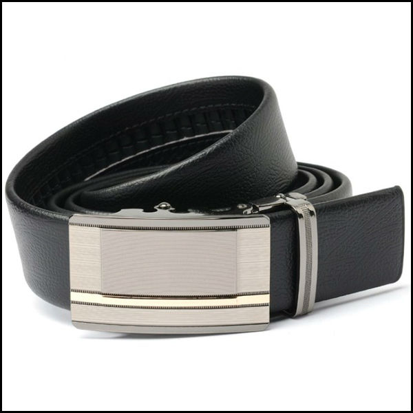 Fashion men's flat belt printing machine leather belt show thin noble temperament