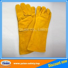 Yellow Long cuff Cow Split Welding Leather work glove