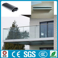 u channel aluminium frameless glass railing for deck/balcony