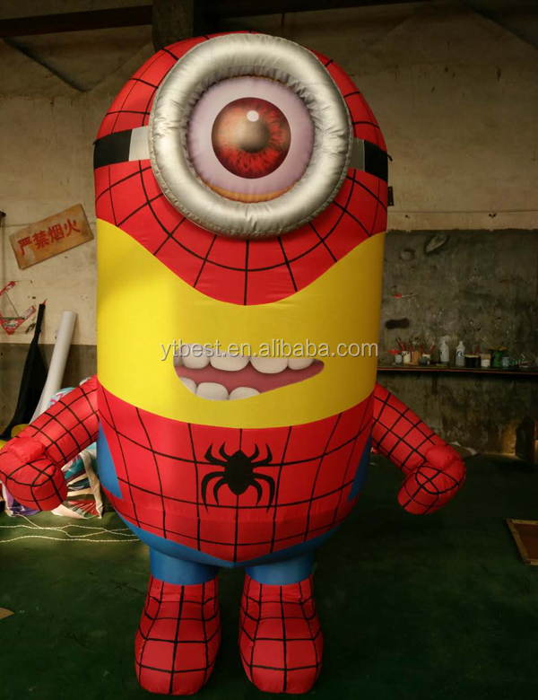 Spiderman version of the minions/Cheap Advertising <strong>Inflatable</strong> Minion Model/ <strong>inflatable</strong> moving cartoon minions toys