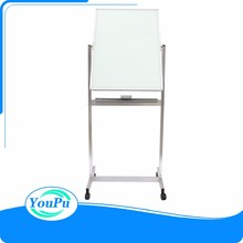 Freestanding magnetic wipe good writing dry erase mobile glass board with frame