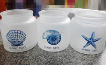 Ocean series frosted glass jars with logo printing
