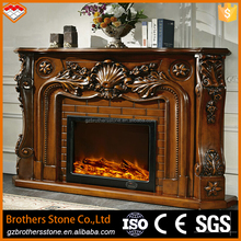 Guangzhou interior corner decorative french style wood fireplace mantel