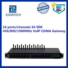 Ejointech 16 port 64 sim cards 800MHz unlock cdma gateway,cdma voip gateway support sms
