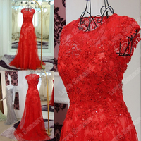 RP50009 2016 original designs cap sleeve see through top lace applique bead dress women casual dress designs red sexy prom dress