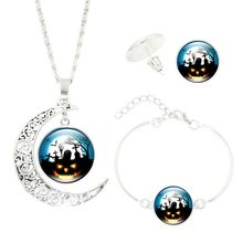 Halloween women jewelry set Wicked Witch Glass Cabochon Silver Crescent Moon Pendant necklace earrings bracelet sets