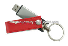 High speed best quality leather usb flash drive usb stick free customize logo with key chain