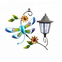SCL0532-C Hanging Art Glass Dragonfly with Solar Metal Led Wall Lantern Lights