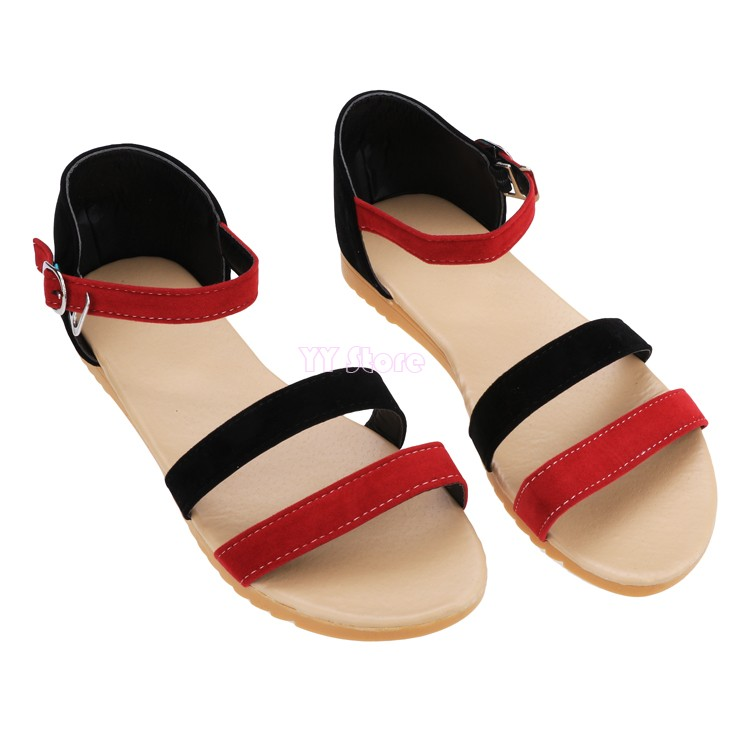 Hot Sale New 2015 Fashion Women Roman shoes Casual Peep-toe Flat Buckle Summer Sandal Shoes 29