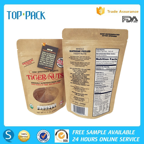 Nuts kraft paper doypack / kraft paper cashews packaging bags with zipper 1kg