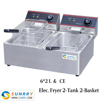 Low price double tank commercial and industrial electric deep fryer