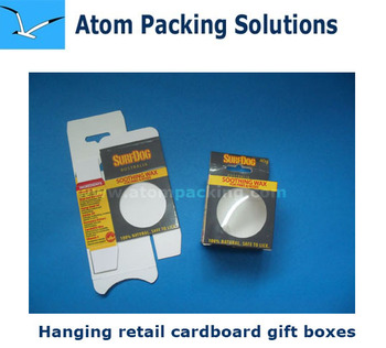 Retail Cardboard gift box with clear PVC window and hangingccccc