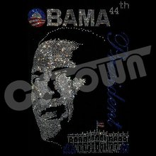 Barack Obama Portrait Rhinestud Hot Fix Transfer