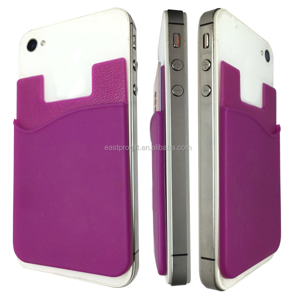 Best selling products free samples silicone smart card wallet, 3m sticky silicone phone wallet