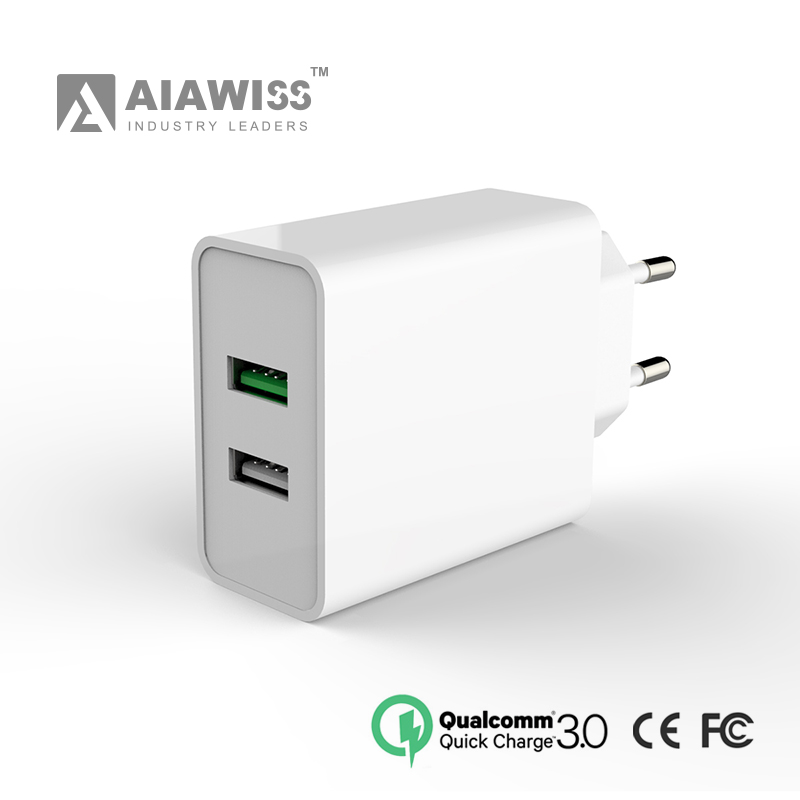 AIAWISS QC3.0 & QC2.0 dual ports Smart wall Charger