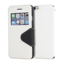 LZB Pu flip leather with fashion window cell phone cover for Micromax BOLT D200