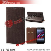 Brown Python-patterned Genuine Leather Stand Case with Card Slot for Sony Xperia Z1 Honami C6906 C6903 C6902 C6943 L39h
