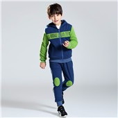 Gray children winter wears clothing hoodie set outwear sweater kids boys fleece