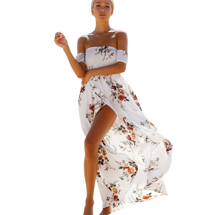 Boho style long dress women Off shoulder beach summer dress new year Casual chiffon white maxi dress vestidos de festa 2017