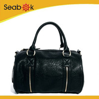 New Look Zipper Detail Genuine Leather Bag Bowling Bag