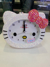 45 colors Mixed wholesale Fashion Lovely Kitty crystal clock cute alarm clock