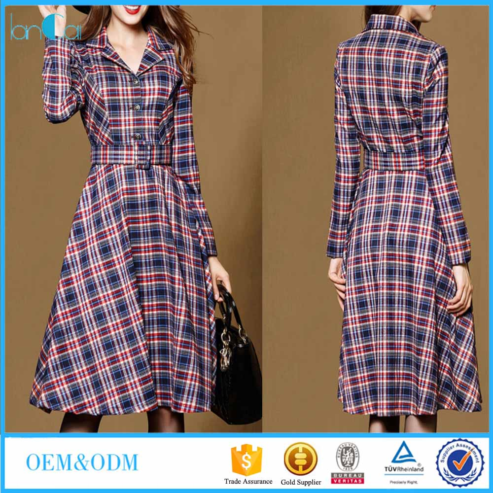 Wholesale Women Long Sleeve Waistbelt Unquie Stripe A-Line Dress
