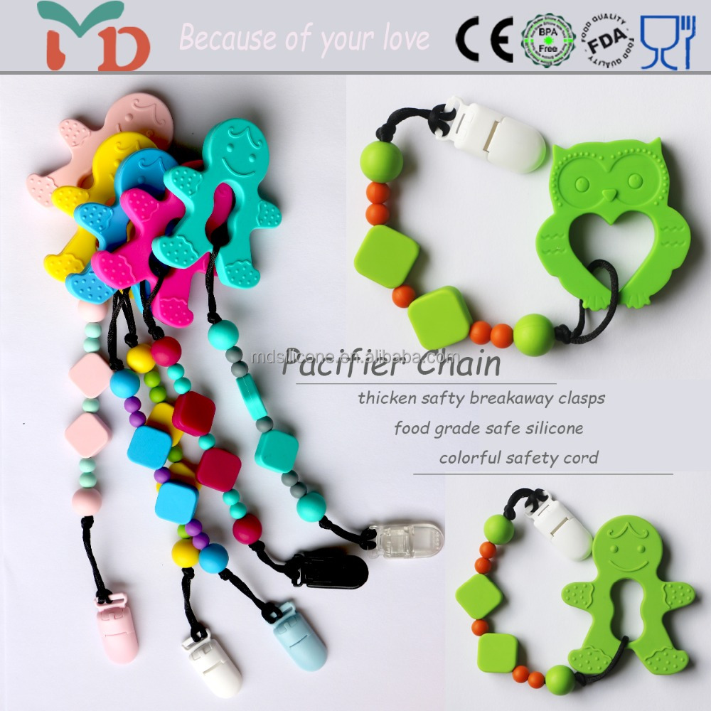 DIY Colorful Funny Silicone Soothe Pacifier Chain