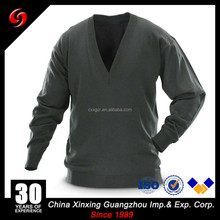 12GG Wool Acrylic Military Acrylic/Wool V-Neck Olive Green Sweater Army Pullover