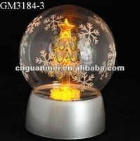 Wholesale led lighting christmas tree ball music box with snowflake